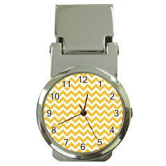 Sunny Yellow And White Zigzag Pattern Money Clip with Watch
