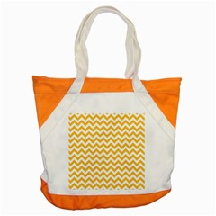 Sunny Yellow And White Zigzag Pattern Accent Tote Bag