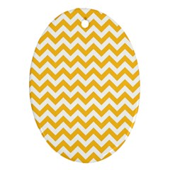 Sunny Yellow And White Zigzag Pattern Oval Ornament (two Sides)