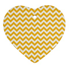 Sunny Yellow And White Zigzag Pattern Heart Ornament (Two Sides)