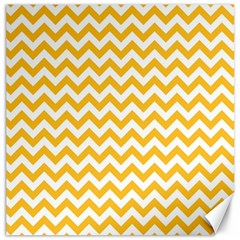 Sunny Yellow And White Zigzag Pattern Canvas 12  x 12  (Unframed)