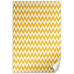 Sunny Yellow And White Zigzag Pattern Canvas 24  X 36  (unframed)