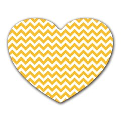 Sunny Yellow And White Zigzag Pattern Mouse Pad (Heart)