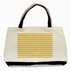 Sunny Yellow And White Zigzag Pattern Twin-sided Black Tote Bag