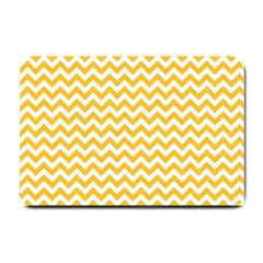 Sunny Yellow And White Zigzag Pattern Small Door Mat