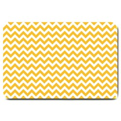 Sunny Yellow And White Zigzag Pattern Large Door Mat