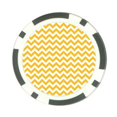 Sunny Yellow And White Zigzag Pattern Poker Chip