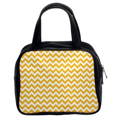 Sunny Yellow And White Zigzag Pattern Classic Handbag (two Sides)