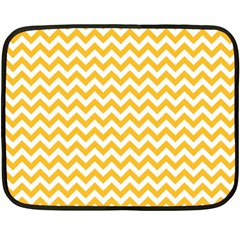 Sunny Yellow And White Zigzag Pattern Mini Fleece Blanket (Two Sided)