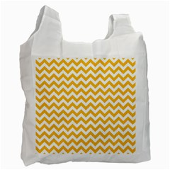 Sunny Yellow And White Zigzag Pattern White Reusable Bag (Two Sides)