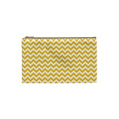 Sunny Yellow And White Zigzag Pattern Cosmetic Bag (Small)