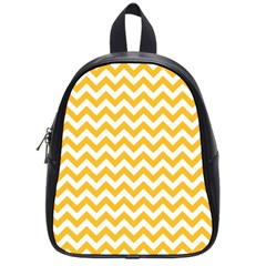 Sunny Yellow And White Zigzag Pattern School Bag (small)