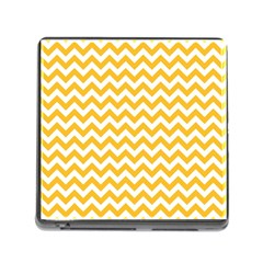 Sunny Yellow And White Zigzag Pattern Memory Card Reader With Storage (square)