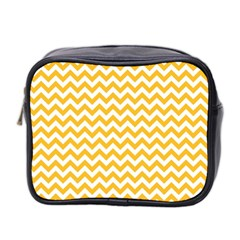 Sunny Yellow And White Zigzag Pattern Mini Travel Toiletry Bag (two Sides)