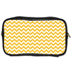 Sunny Yellow And White Zigzag Pattern Travel Toiletry Bag (two Sides)