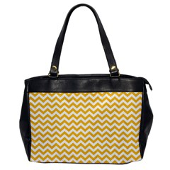 Sunny Yellow And White Zigzag Pattern Oversize Office Handbag (One Side)