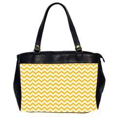 Sunny Yellow And White Zigzag Pattern Oversize Office Handbag (Two Sides)