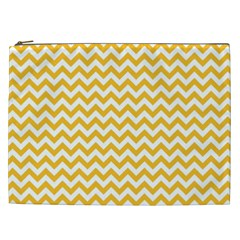 Sunny Yellow And White Zigzag Pattern Cosmetic Bag (xxl)