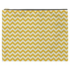 Sunny Yellow And White Zigzag Pattern Cosmetic Bag (XXXL)