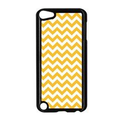 Sunny Yellow And White Zigzag Pattern Apple iPod Touch 5 Case (Black)