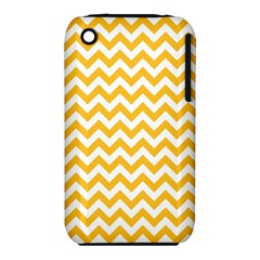 Sunny Yellow And White Zigzag Pattern Apple iPhone 3G/3GS Hardshell Case (PC+Silicone)