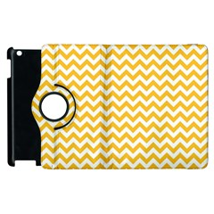 Sunny Yellow And White Zigzag Pattern Apple iPad 2 Flip 360 Case