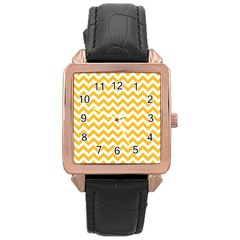 Sunny Yellow And White Zigzag Pattern Rose Gold Leather Watch