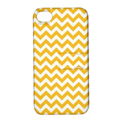 Sunny Yellow And White Zigzag Pattern Apple Iphone 4/4s Hardshell Case With Stand
