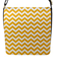 Sunny Yellow And White Zigzag Pattern Flap Closure Messenger Bag (small)