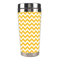 Sunny Yellow And White Zigzag Pattern Stainless Steel Travel Tumbler