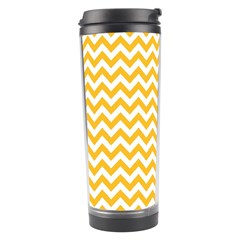 Sunny Yellow And White Zigzag Pattern Travel Tumbler