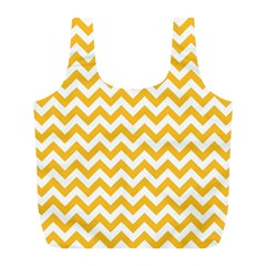 Sunny Yellow And White Zigzag Pattern Reusable Bag (l)