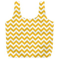 Sunny Yellow And White Zigzag Pattern Reusable Bag (xl)