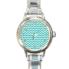 Turquoise And White Zigzag Pattern Round Italian Charm Watch