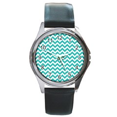 Turquoise And White Zigzag Pattern Round Leather Watch (Silver Rim)