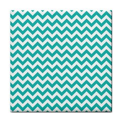 Turquoise And White Zigzag Pattern Ceramic Tile