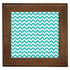 Turquoise And White Zigzag Pattern Framed Ceramic Tile