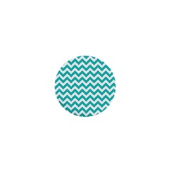 Turquoise And White Zigzag Pattern 1  Mini Button Magnet