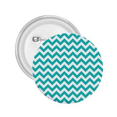 Turquoise And White Zigzag Pattern 2.25  Button