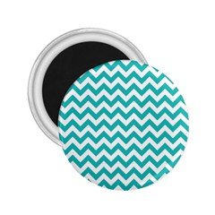Turquoise And White Zigzag Pattern 2 25  Button Magnet