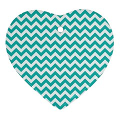 Turquoise And White Zigzag Pattern Heart Ornament