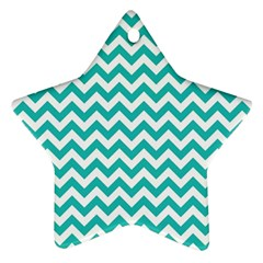 Turquoise And White Zigzag Pattern Star Ornament