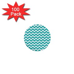 Turquoise And White Zigzag Pattern 1  Mini Button (100 pack)