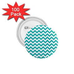 Turquoise And White Zigzag Pattern 1.75  Button (100 pack)