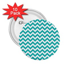 Turquoise And White Zigzag Pattern 2 25  Button (10 Pack)