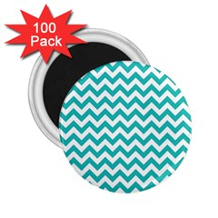 Turquoise And White Zigzag Pattern 2.25  Button Magnet (100 pack)