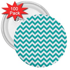 Turquoise And White Zigzag Pattern 3  Button (100 pack)