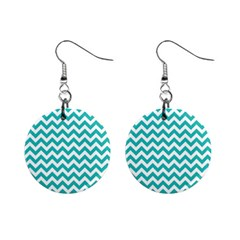 Turquoise And White Zigzag Pattern Mini Button Earrings