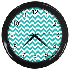 Turquoise And White Zigzag Pattern Wall Clock (black)