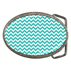 Turquoise And White Zigzag Pattern Belt Buckle (Oval)